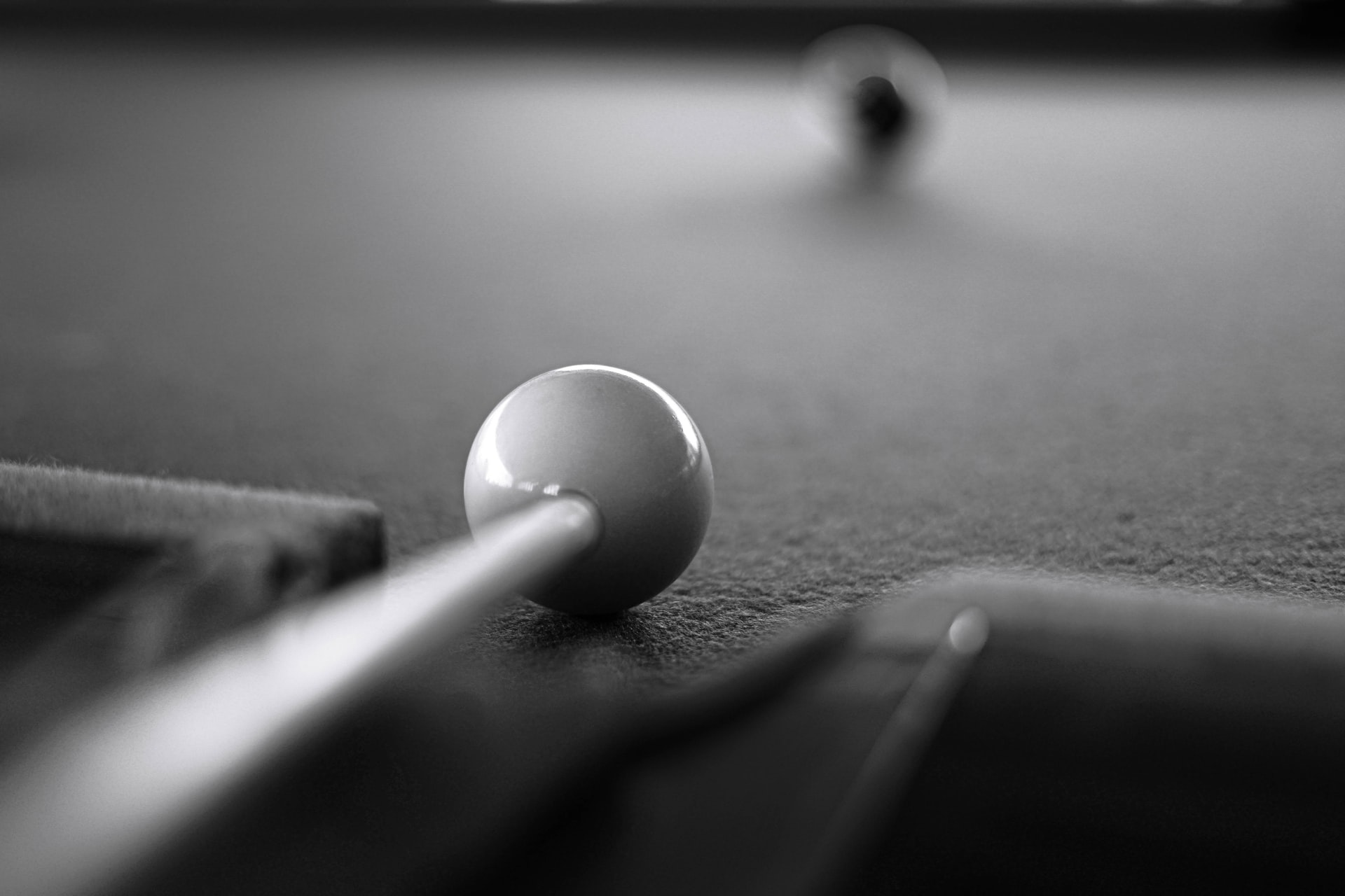 Point of view photo of pool shot
