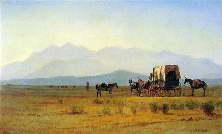 Book cover illustration. Surveyor's Wagon in the Rockies by Albert Bierstadt