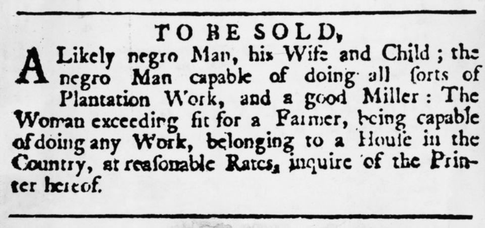 Slaves for sale ad.
