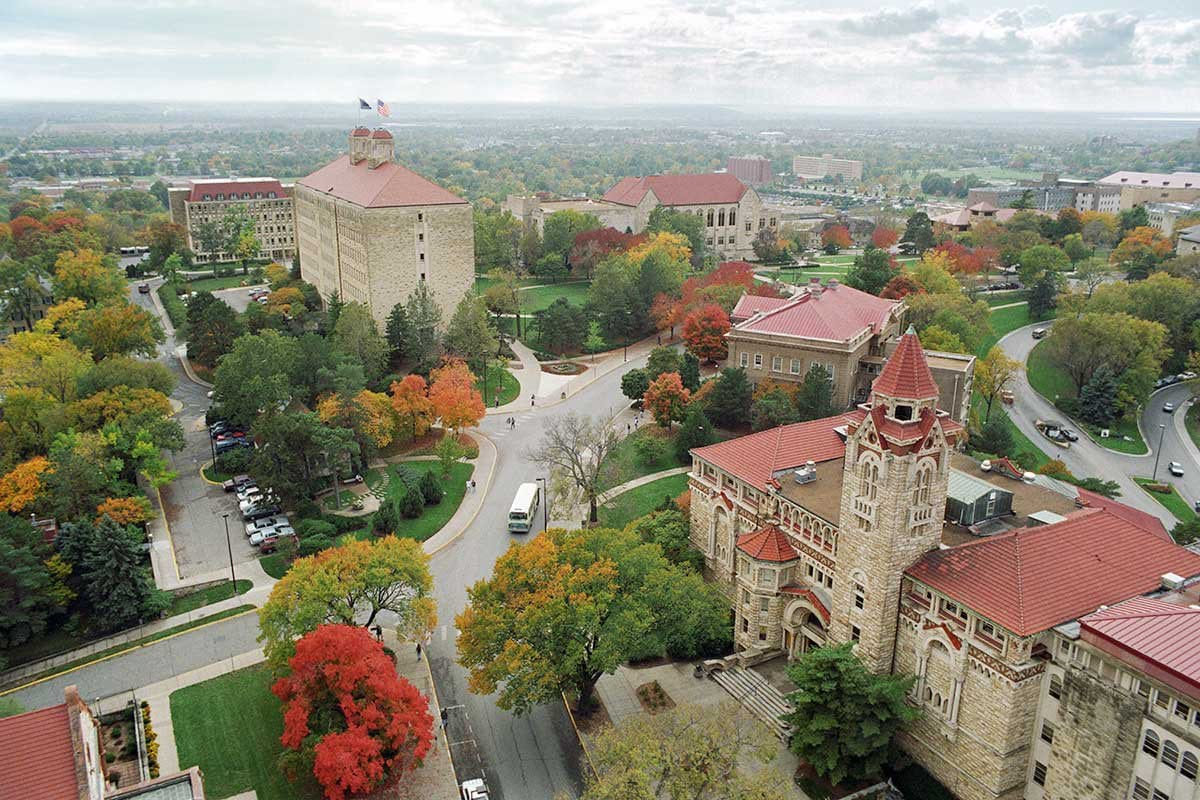 View above The University of Kansas.